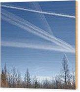 Fall Landscape With Jet Vapor Trails Wood Print