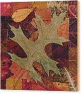 Fall Leaf Collage Wood Print