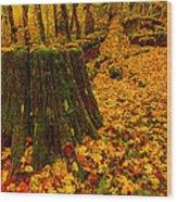 Fall Leaves Mosaic Wood Print by Dan Mihai