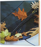 Fall Leaves On A Car Wood Print