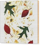 Fall Leaves On Paper Wood Print