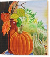 Fall Leaves Pumpkin Gourd Wood Print