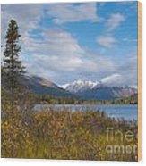 Fall Mountain Landscape Of Lapie Lake Yukon Canada Wood Print