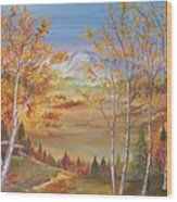 Fall Mountain Path Wood Print