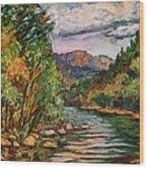 Fall New River Scene Wood Print
