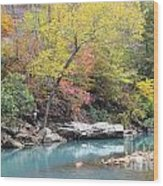 Fall On The River Wood Print