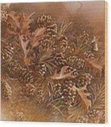 Fall Pinecones Wood Print