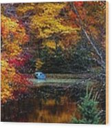 Fall Pond And Boat Wood Print by Tom Mc Nemar