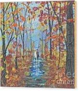 Fall Promenade  Wood Print