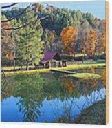 Fall Reflections At The Farm  Wood Print