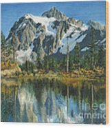 Fall Reflections - Cascade Mountains Wood Print