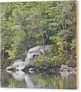 Fall Reflections Wc Wood Print