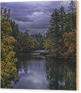 Fall River Scene Wood Print