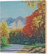 Fall Scene - Mountain Drive Wood Print