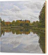 Fall Season By The Pond Wood Print