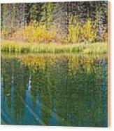 Fall Sky Mirrored On Calm Clear Taiga Wetland Pond Wood Print