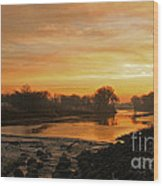Fall Sunrise On The Red River Wood Print