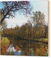 Fall Water Reflections Wood Print