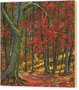 Fallen Leaves Wood Print