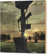 Fallen Soldiers Memorial Wood Print by September  Stone