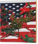 Fallen Toy Soliders On American Flag Wood Print by Amy Cicconi