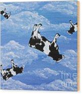 Falling Cows Wood Print