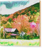 Falling Farm Blended Art Styles Wood Print