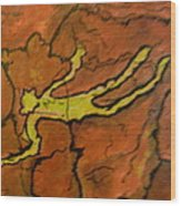 Falling Man Rock Art Wood Print