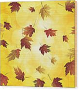 Falling Maple Leaves In Autumn Illustration Wood Print