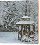 Falling Snow - Winter Landscape Wood Print