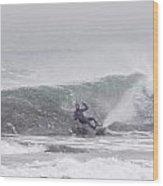 Falling Surfer In Falling Snow Wood Print