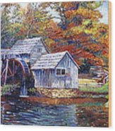 Falling Water Mill House Wood Print