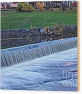 Falls At Slater Mill Wood Print