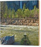 Falls On The Merced Wood Print