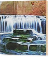 Falls Panorama-features In Groups Rivers Streams And Waterfalls-visions Of The Night Wood Print