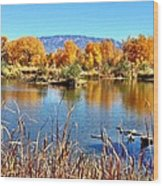Fall's Reflection On The Rio Grande Wood Print