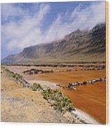 Famara Cliffs And Salinas Del Rio On Lanzarote Wood Print