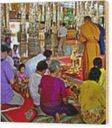 Families Awaiting Teaching From A Monk At Wat Tha Sung Temple In Uthaithani-thailand Wood Print