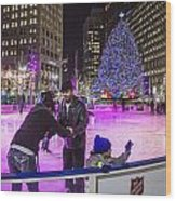 Family At Detroit Ice Rink   Wood Print
