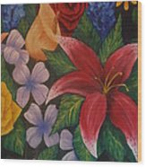 Family Flowers Wood Print
