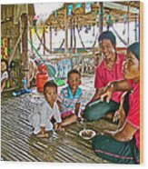 Family In Countryside Outside Of Siem Reap-cambodia Wood Print