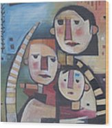 Family In Garden With Cat Wood Print