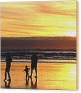 Family In The Yellow Spotlight Wood Print