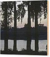 Family Silhouetted By Lake Wood Print