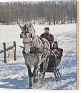 Family Sleigh Ride Wood Print