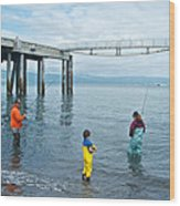 Family Surf Fishing In Kachemak Bay Off Homer Spit-ak Wood Print