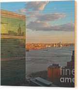United Nations Secretariat With Chrysler Building Reflection Wood Print