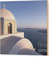 Famous Orthodox Church In Santorini Greece At Sunset Wood Print by Matteo Colombo