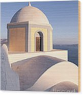 Famous Orthodox Church In Santorini Greece Wood Print by Matteo Colombo
