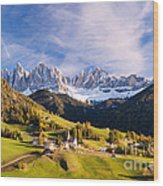 Famous View St Magdalena With Odle Mountains In The Dolomites Italy Wood Print